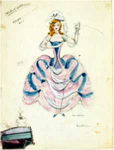 Costume design for Barbara Wilson as Olympia, Act I, Tales of Hoffmann, National Theatre Opera Company, 1954